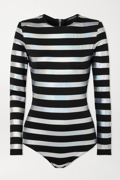 Balmain Bodysuits Striped iridescent cotton-jersey bodysuit
