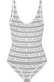 Balmain Metallic intarsia stretch-knit bodysuit