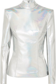 Iridescent faux leather turtleneck top