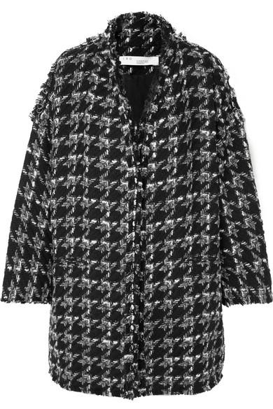 Trouble Oversized Houndstooth Bouclé Coat in Black