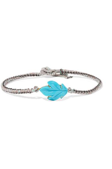 BROOKE GREGSON Maya 18-karat gold, sterling silver and turquoise bracelet