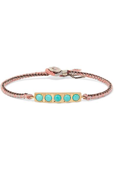 BROOKE GREGSON 14-karat gold, sterling silver and turquoise bracelet