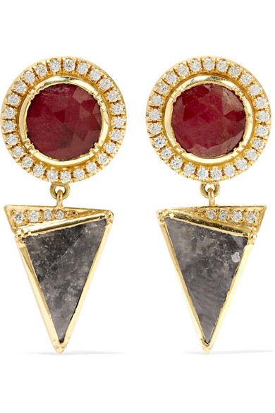 BROOKE GREGSON Nefertiti Orbit 18-karat gold, diamond and ruby earrings