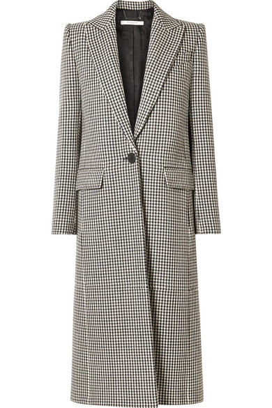 Houndstooth One Button Wool Coat in Black