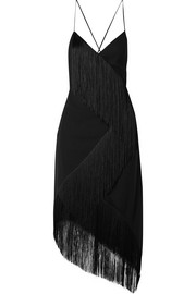 Givenchy Asymmetric fringed wool-crepe wrap-effect midi dress