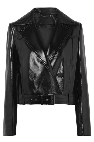 Cropped Double-Breasted Glossed-Leather Biker Jacket in Black