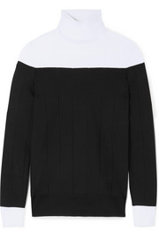 Givenchy Two-tone ribbed stretch-knit turtleneck sweater