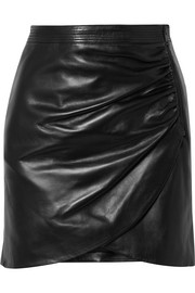 Givenchy Wrap-effect leather mini skirt
