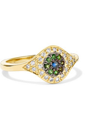Cats Eye 18-karat gold multi-stone ring