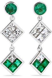 Double Dangling 18-karat white gold, emerald and sapphire earrings