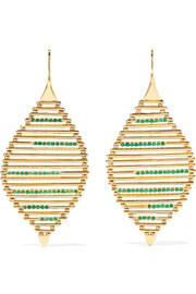 Grass Seed 18-karat gold emerald earrings