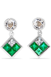 Dangling Rhombus 18-karat white gold, sapphire and emerald earrings