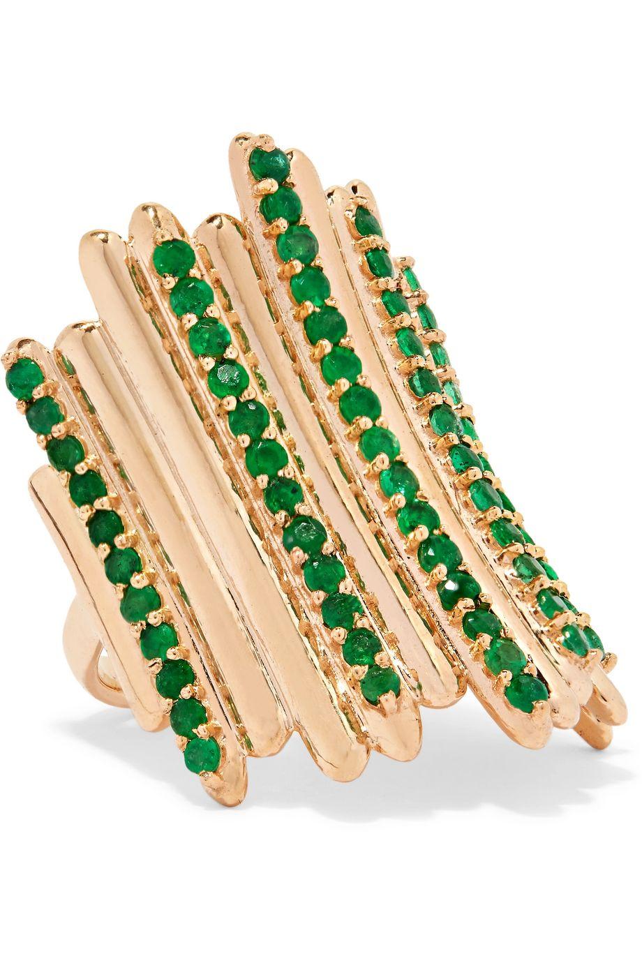 Ileana Makri Grass Fence Ring aus 18 Karat Gold mit Smaragden