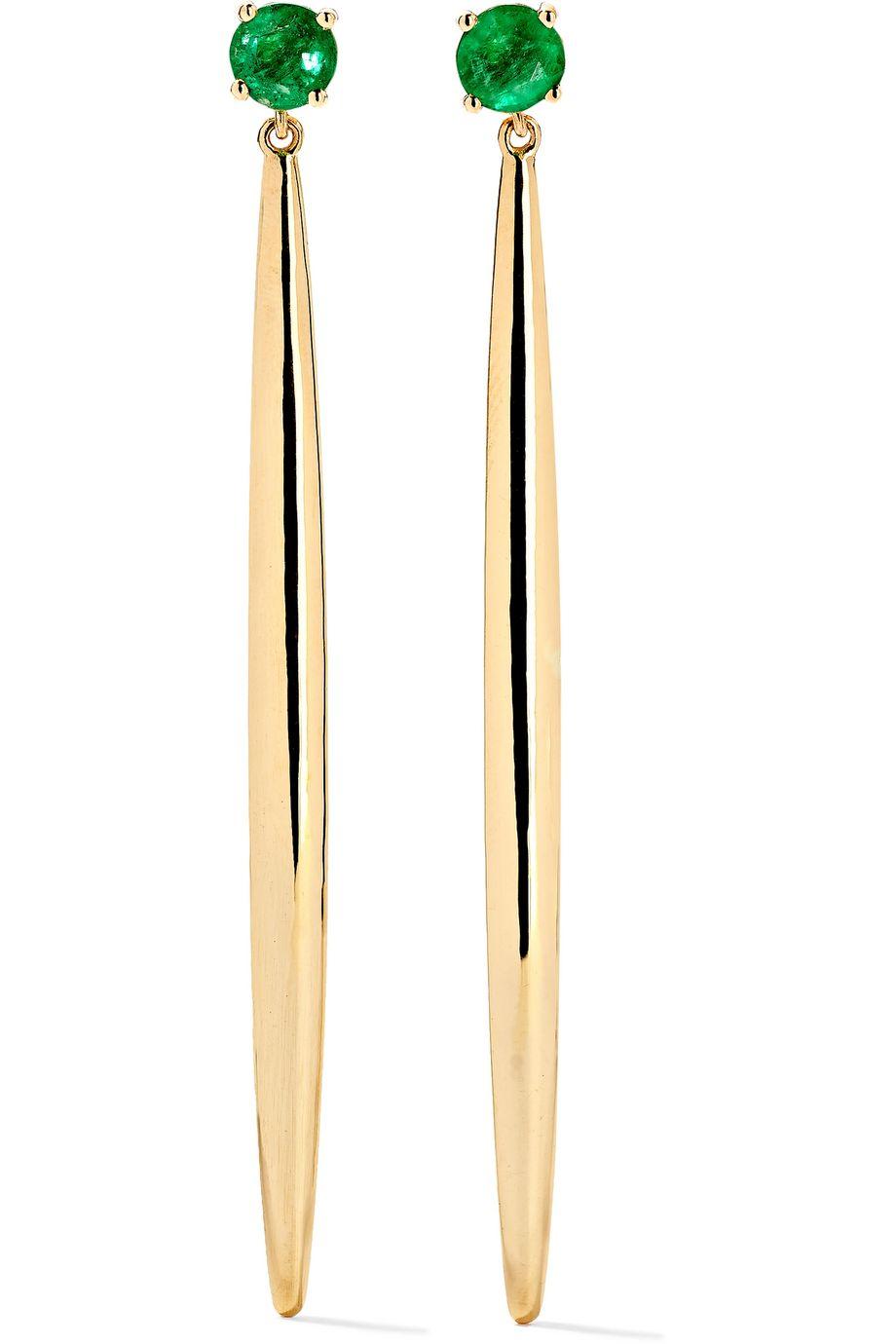 Ileana Makri Grass Ohrringe aus 18 Karat Gold mit Smaragden