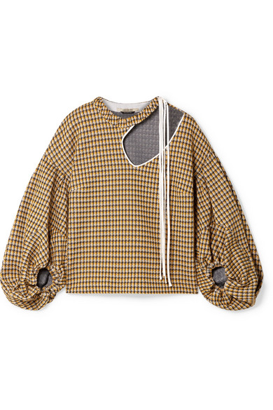 HELLESSY Sloane Cutout Satin-Trimmed Houndstooth Tweed Blouse in Yellow
