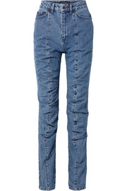 Paneled high-rise straight-leg jeans