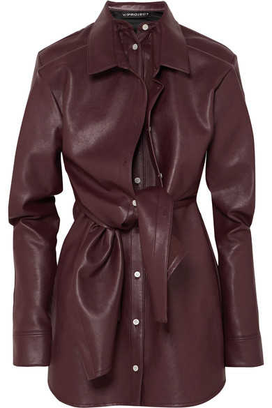 Y/PROJECT LAYERED FAUX LEATHER MINI DRESS
