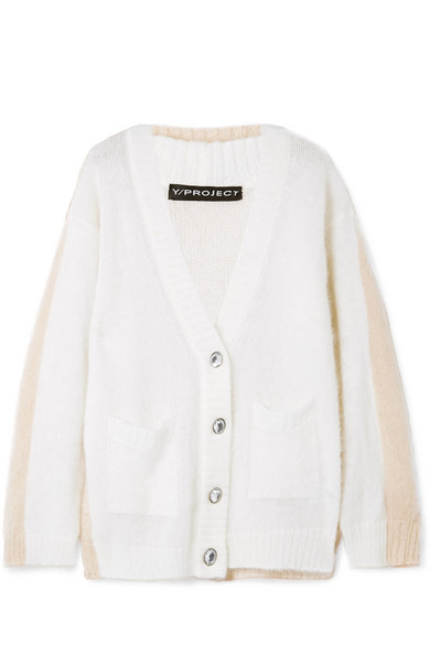 Y/PROJECT OVERSIZED LAYERED TWO-TONE MOHAIR-BLEND CARDIGAN