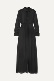 Alaïa Gathered silk-chiffon shirt dress