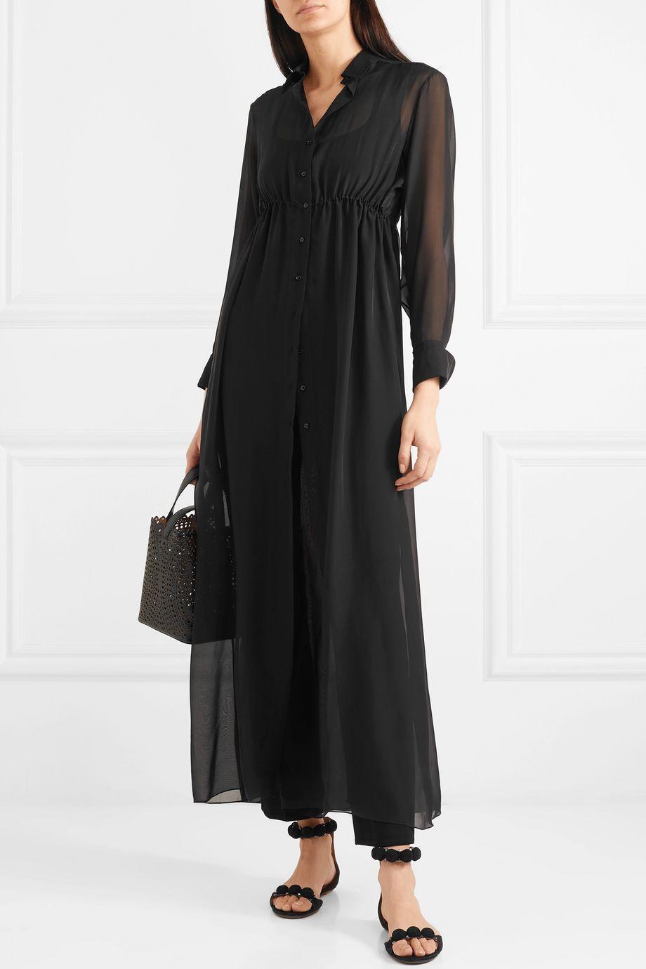 Alaïa Gathered silk-chiffon shirt dress