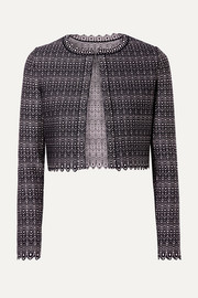 Alaïa Cropped metallic jacquard-knit cardigan