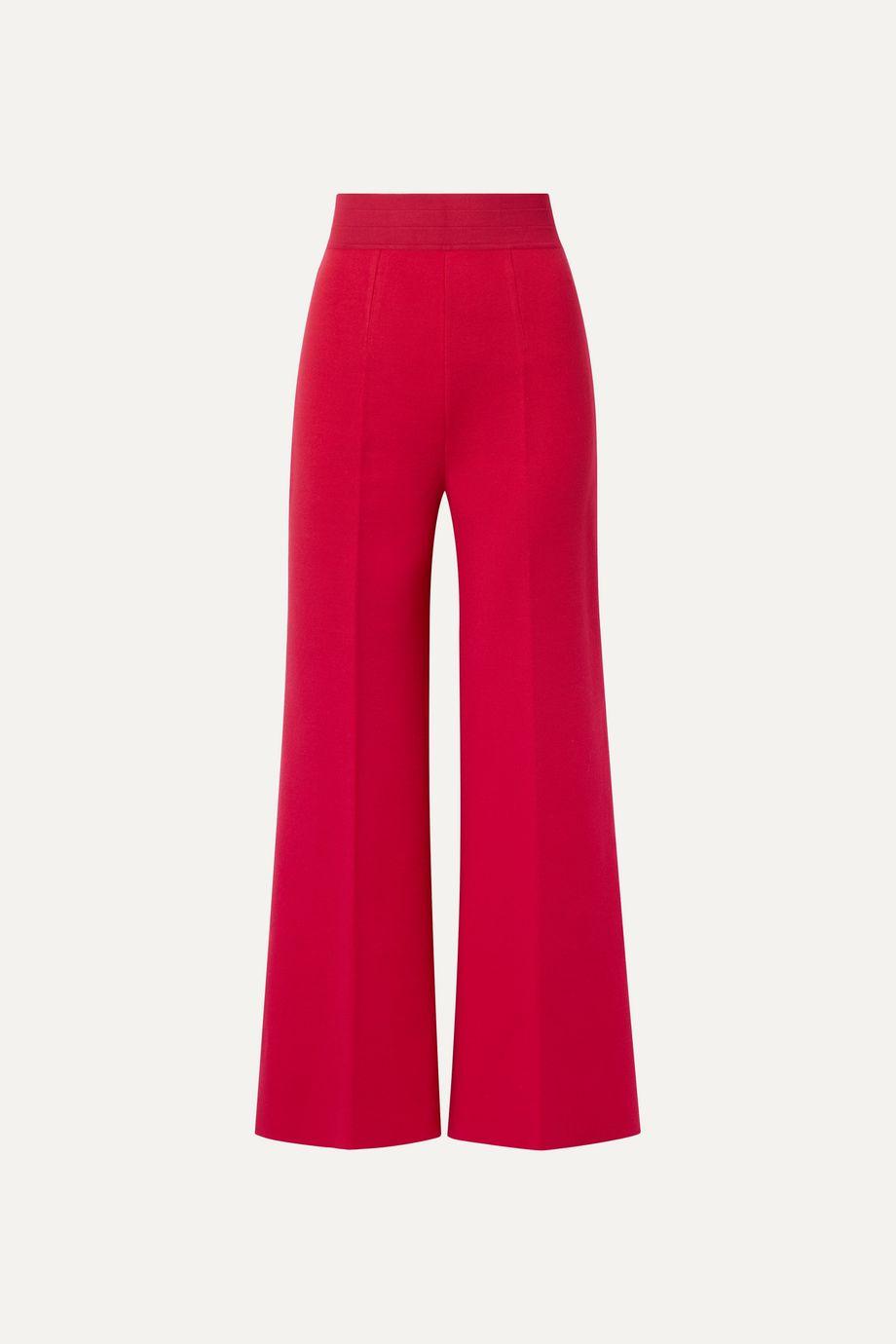 Alaïa Cropped stretch-knit wide-leg pants