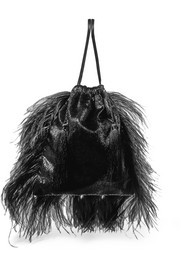 Feather-trimmed lamé and velvet pouch