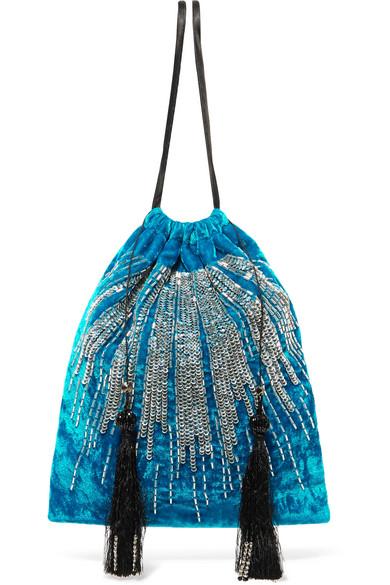 Attico - Tasseled Embellished Velvet Pouch - Blue