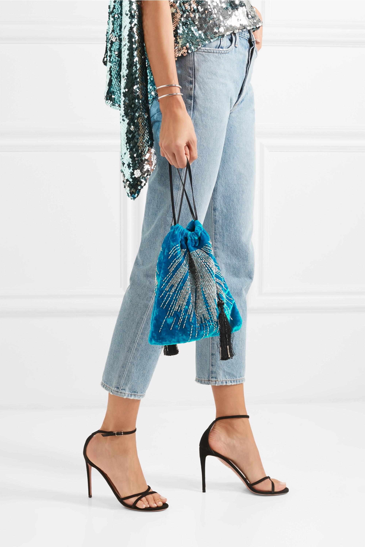 The Attico Tasseled embellished velvet pouch