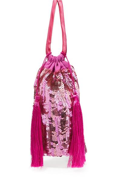 ATTICO Tasseled sequined chiffon pouch