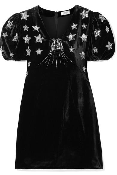 Bambi Sequin-Embellished Velvet Mini Dress in Black