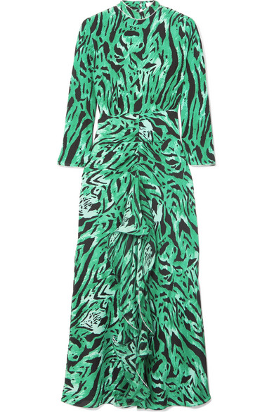 RIXO London - Lucy Open-back Ruffled Printed Silk Midi Dress - Green