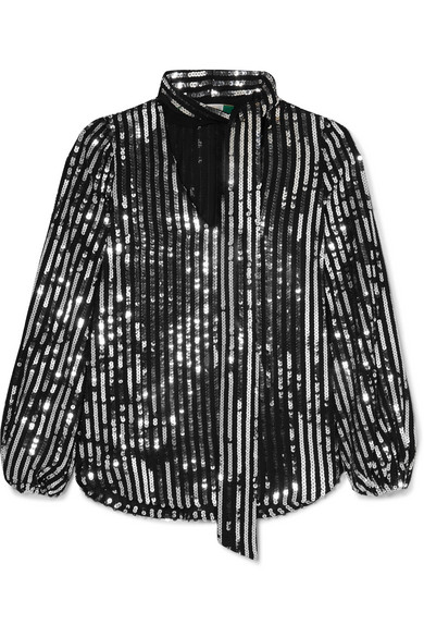 Moss Sequin-Embellished Chiffon Top in Black