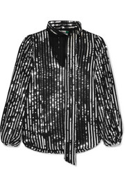 RIXO London Moss striped sequined tulle blouse