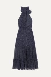 Eleanor polka-dot silk midi dress