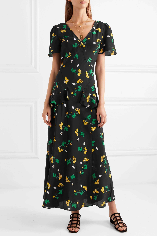 RIXO Evie ruffled floral-print silk-crepe maxi dress