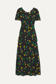 RIXO London Evie ruffled floral-print silk-crepe maxi dress
