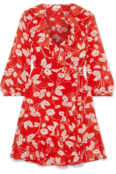 Abigail Floral-Print Silk-Crepe Wrap Dress in Red