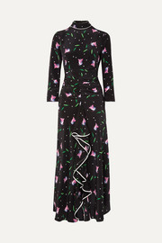 Gabriele ruffled floral-print silk crepe de chine maxi dress