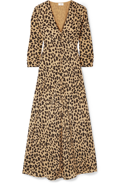 RIXO London - Katie Leopard-print Silk-crepe Dress - Leopard print