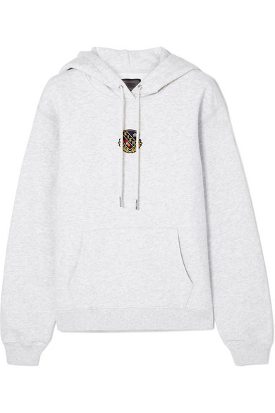 KITH Jane Appliquéd Cotton-Jersey Hoodie in Gray