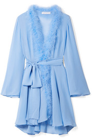 Peter Pan feather-trimmed crystal-embellished silk-georgette robe
