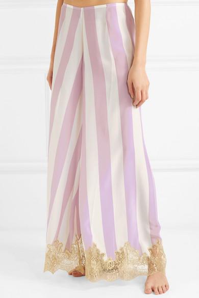 Wallah, Lets Stripes Lace-trimmed Silk Pajama Pants - Lilac Rosamosario