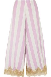Wallah, Let's Stripes lace-trimmed silk pajama pants