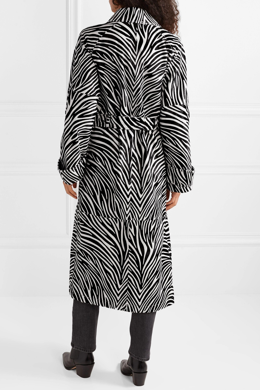 Joseph Stafford belted zebra-print calf hair coat