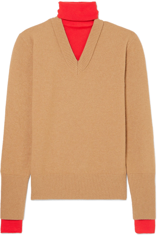 Joseph Layered two-tone wool-blend turtleneck sweater