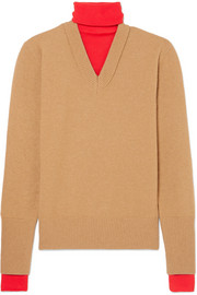 Layered two-tone wool-blend turtleneck sweater