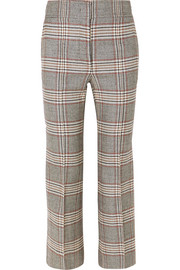 Checked wool flared pants