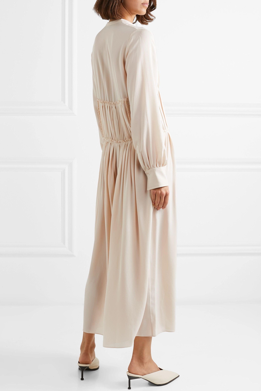 Joseph Jamie pleated silk crepe de chine midi dress