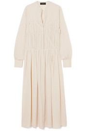 Jamie pleated silk crepe de chine midi dress